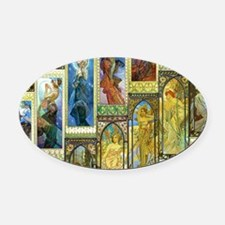 Mucha's Night and Day Oval Car Magnet