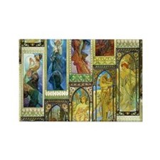 Mucha's Night and Day Magnets