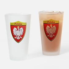 Poland Metallic Shield Drinking Glass
