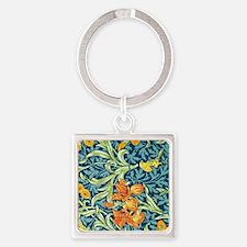 William Morris design: Iris floral Square Keychain