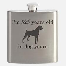 75 birthday dog years boxer Flask