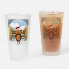 Christmas Monkey Drinking Glass