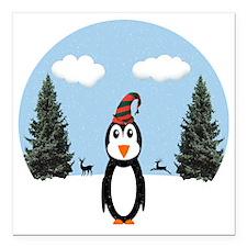 "Christmas Penguin Square Car Magnet 3"" x 3"""