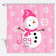 Cute Pink Snowman Joy Shower Curtain