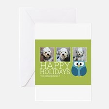 Add 3 Photos Owl Greeting Cards