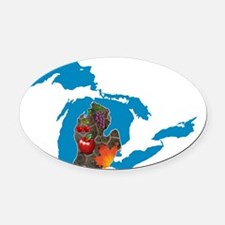 Great Lakes Michigan Harvest Oval Car Magnet
