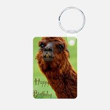 funny alpaca birthday Keychains