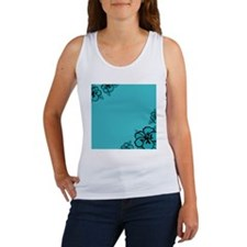 Teal Blue and Black Hibiscus Flow Women's Tank Top