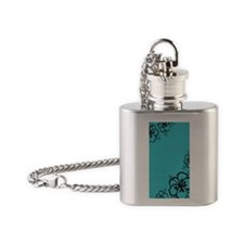 Teal Blue and Black Hibiscus Flower Flask Necklace