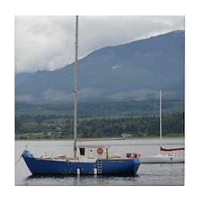 Anchored sailboat Tile Coaster