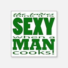 "Sexy Man Green Square Sticker 3"" x 3"""