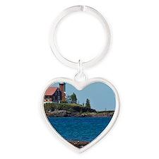 Eagle Harbor Lighthouse Heart Keychain