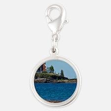 Eagle Harbor Lighthouse Silver Round Charm