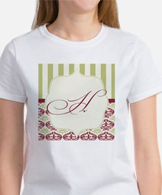 Burgundy and Gold Stripe Damask Mo Tee