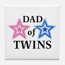 Dad of Twins (Girl, Boy) Tile Coaster