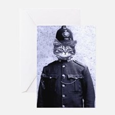 Policeman Cat Greeting Card