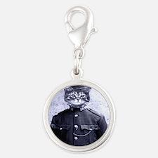 Policeman Cat Silver Round Charm