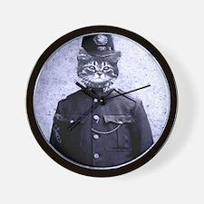 Policeman Cat Wall Clock