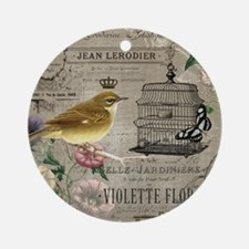Vintage French Bird Round Ornament