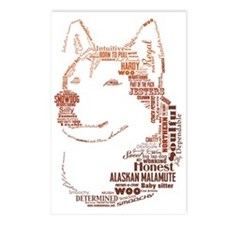 Malamute Words Postcards (Package of 8)