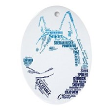 Husky Words Oval Ornament