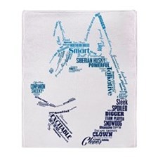 Husky Words Throw Blanket