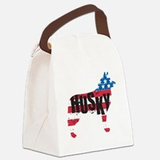 Husky American Flag Silhouette Canvas Lunch Bag