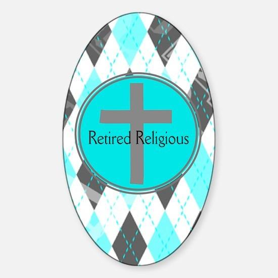 Retired Religious Argyle 3 Sticker (Oval)