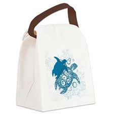 Aqua Turtle Love Canvas Lunch Bag