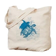 Aqua Turtle Love Tote Bag