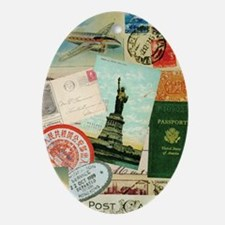 Vintage Passport travel collage Oval Ornament