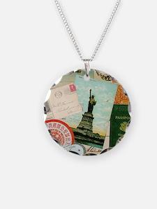 Vintage Passport travel coll Necklace