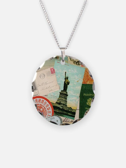 Vintage Passport travel coll Necklace Circle Charm