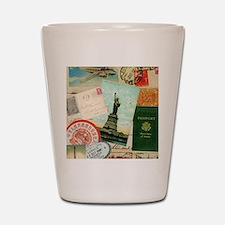 Vintage Passport travel collage Shot Glass