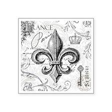 """Vintage French fleur de lis Square Sticker 3"""" x 3"""""""