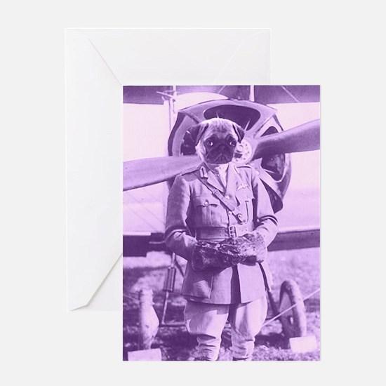 Pug Pilot Greeting Card