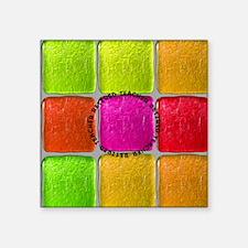 """Retired Teacher Tiles PIllo Square Sticker 3"""" x 3"""""""