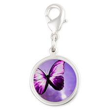 purple majesty Silver Round Charm