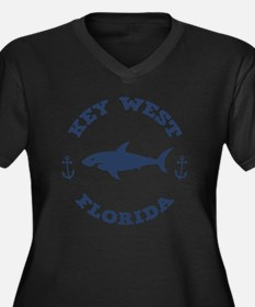 shark-keywes Women's Plus Size Dark V-Neck T-Shirt