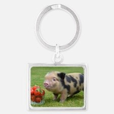 Micro pig with strawberries Landscape Keychain