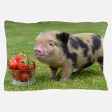 Micro pig with strawberries Pillow Case