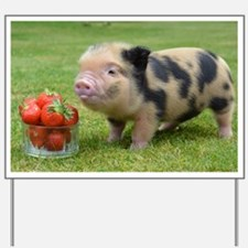 Little micro pig with strawberries Yard Sign