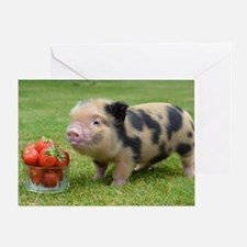 Little micro pig with strawberries Greeting Card