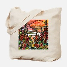 Red Hollyhocks in Landscape Tote Bag
