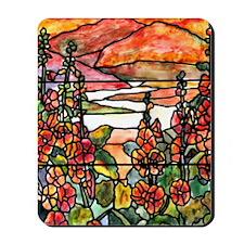 Red Hollyhocks in Landscape Mousepad