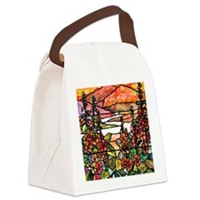 Red Hollyhocks in Landscape Canvas Lunch Bag