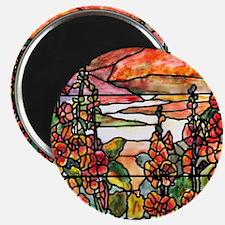 Red Hollyhocks in Landscape Magnet