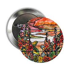 """Red Hollyhocks in Landscape 2.25"""" Button"""