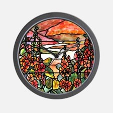 Red Hollyhocks in Landscape Wall Clock