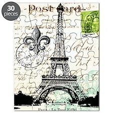Vintage French Carte Postale Eiffel Tower Puzzle